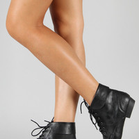 Bamboo Picnic-02 Leatherette Lace Up Ankle Bootie