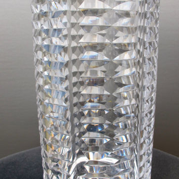 "Signed Waterford Hand Cut glass 10"" vase Irish Crystal"