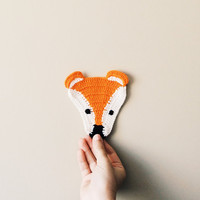 2 pieces, Crochet Fox, Fox mug rug, knitted fox, knit mug rug, placemat, homedecore, crochet coasters