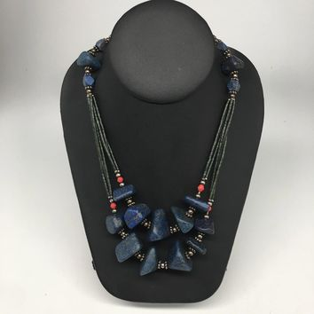 "112.5g, Lapis & Green Nephrite Jade Multi-Strands Beaded Necklace, 22"",NPH67"