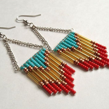 Red and Turquoise Beaded Chevron Earrings
