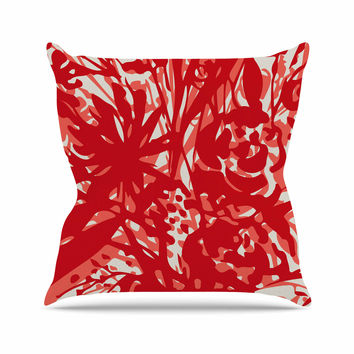 "Patternmuse ""Inky Floral Poppy"" Red Coral Painting Throw Pillow"