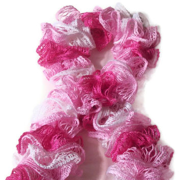 Easter Gift , Crochet Ruffle Scarf, Pink Ruffle Scarf , Spring Wardrobe Sashay Scarf  , Women's Accessory , Lacey Scarf , Fashion Accessory