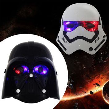 Star Wars Force Episode 1 2 3 4 5  Mask Black & White Helmet Darth Vader Superhero Halloween Cosplay Full Face Mask Costume For Home Party With LED Light AT_72_6