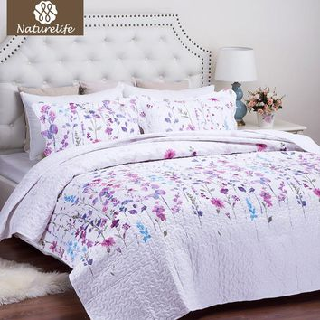 Naturelife Floral Pattern Quilt Set Bedspread Bed Cover Quilted Bedding Set Duvet Cover Pillowcase Quilts Warm Coverlet Set