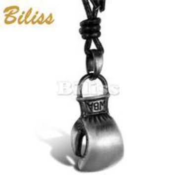 SHIPS FROM USA Hot sale High Quality Rock Punk Boxing Pendant Vintage Men Leather Necklace 2017 Long Chain Adjustable colar de couro