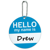 Drew Hello My Name Is Round ID Card Luggage Tag