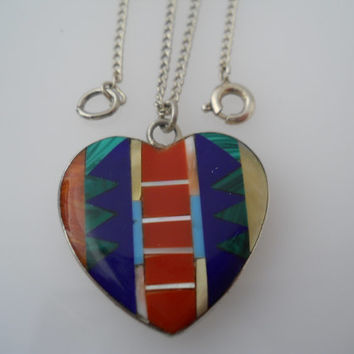 Sterling Silver 925 Inlay Heart Pendant Small Curb Chain Necklace Native American 16.5in Coral Turquoise Lapis Malachite MOP