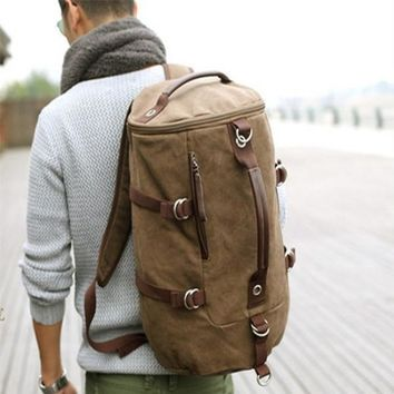 Large capacity man travel bag heavy duty canvas material backpack excellent design men shoulder straps adjustable bucket bags