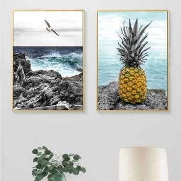 Seascape Pineapple Seagull Canvas Painting Abstract Nordic Posters Prints Wall Art Pictures for Living Room Home Decor Frameles