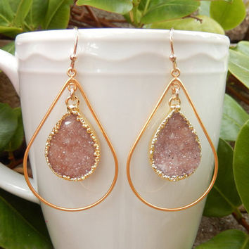 Druzy Gold Earrings Chandelier Teardrop Hoop Quartz Crystal Drops - Free Shipping Jewelry