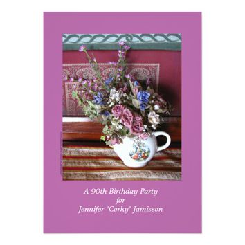 90th Birthday Party Invitation, Flowers in Teapot Card