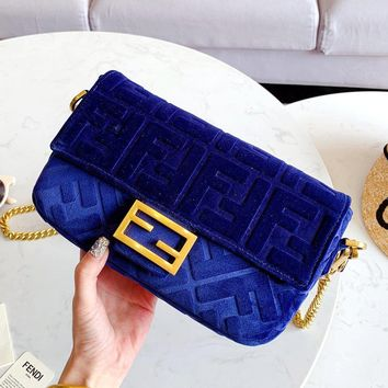 Free shipping-Fendi suede double F embossed chain bag shoulder bag