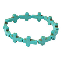 Fashion Turquoise Bracelet Personalized Cross Jewelry Gemstone Statement Bracelet