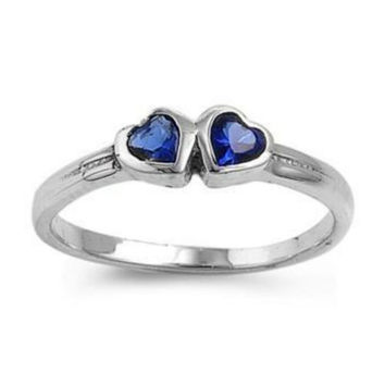 Sterling Silver Blue Sapphire CZ Twin Heart Ring Size 1-5