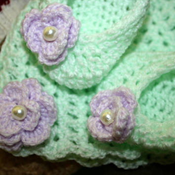 Baby crochet beanie hat slippers crochetyknitsnbits quality hand made baby girl clothes mint lilac baby shower gift layette 0 to 3 months