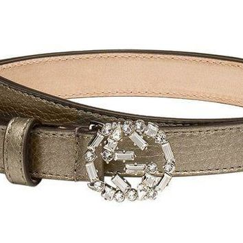 PEAPNO Gucci Women's Grey Metallic Leather Crystal Interlocking GG Buckle Belt