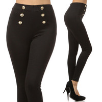 Black High Waist Sailor Pants Gold Buttons