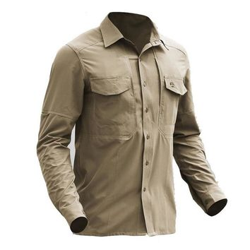 Hiking Shirt camping Outdoor Gear Quick Dry Camping Shirt Men Breathable Soft Elastic Shirts Long Sleeve Stretches Hiking Hunting Army Shirt KO_17_1