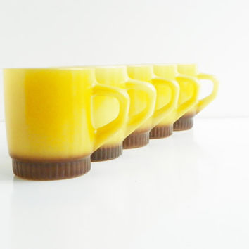 5 Yellow Fire King Mugs