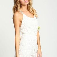 WHITE TEARDROP CROCHET KNIT ROMPER