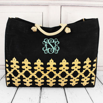 Monogrammed Black and Gold  Tote - Personalized Overnight Bag - Prepacked Hospital Bag - Christmas Gift for her - Birthday Gift for her
