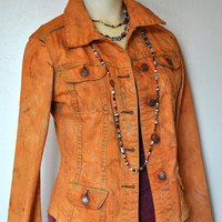Denim Jacket - Autumn Rust Orange Hand Dyed Upcycled Cotton Denim Jacket - Juniors Small