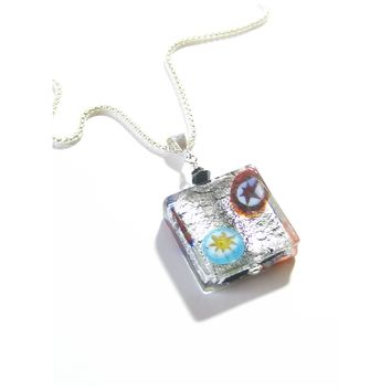 Murano Glass Black Millefiori Square Pendant Sterling Silver Necklace