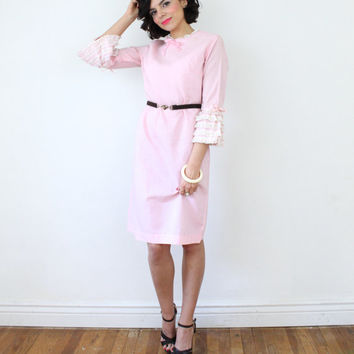 vintage 60s Adorable Pink LACE Tiered Angel Bell Sleeves MOD DREAM Twiggy Shift Mini Dress M