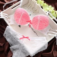 Women Lady Cute Sexy Underwear Satin Lace bralette Invisible Bras Embroidery Push-Up Bra Sets With Panties