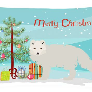 White Arctic Fox Christmas Canvas Fabric Decorative Pillow BB9244PW1216