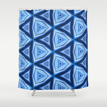 Abstract Triangle Blue Pattern Shower Curtain by Cinema4design