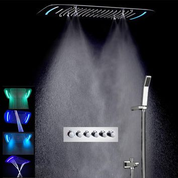 Concealed Rain Shower Set Thermostatic High Flow Multifunction LED Shower Faucets Mist Spray Waterfall Massage Bathroom Fixtures