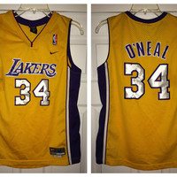Sale!! Vintage Nike LA LAKERS Basketball Jersey NBA Shirt #34 O'Neal