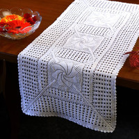Oroshi Crochet RUNNER- Handmade Table Runner- Cotton - Table Runner for Home Decor, Wedding Decor, Birthdays, Bridal & Gifts