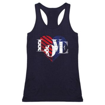 Women's Tank Tops Love Letter American Flag Heart Printing Sleeveless O-Neck Vest Tees Female Summer Casual Loose Fashion Simple