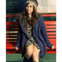 Women/Girl Blue Single-Breasted Thickened Loose Free Size Knitting Sweater@T882blu