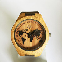 Wooden Watch, World Map Watch, Wood Watches, Mens Watch, Personalized Watch, Groomsmen Gift, Travel Gift, Unique, Leather Watch, Freeforme