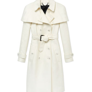 Burberry Prorsum Double Duchess Caped Trench Coat - White Trench Coat - ShopBAZAAR