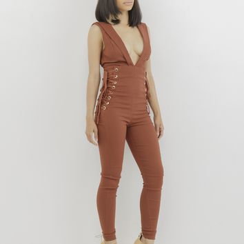 LACED UP PLUNGLING JUMPSUIT - CINNAMON