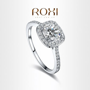 NEW ROXI 18K White Gold Plated Elegant Platinum Round Square Diamond Wedding Ring Fashion Jewelry Sets For Women (With Thanksgiving&Christmas Gift Box)= 1958434692
