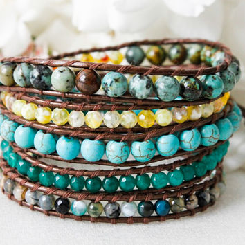 Leather Wrap Bead Bracelet - Sea of Cortez