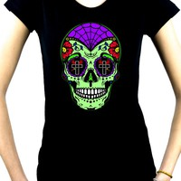 "Green Sugar Skull Calavera Women's Babydoll Shirt ""Dia De Los Muertos"" Day of the Dead"