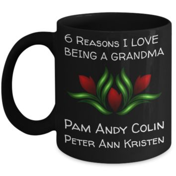 Holiday Morning Mug - Black 11 oz Grandma Cup - Personalized Grandkids Name Gift - Perfect for Cocoa, Milk, Cookies & Candy - Personalization Gift For Nana & Mimi