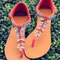 Wisteria Coral Jeweled T-Strap Sandals