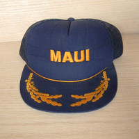 Vintage Mesh Snap Back Trucker Hat Navy Blue and Gold- Maui- One Size Fits All