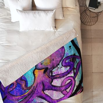 Sophia Buddenhagen Purple Octopus Fleece Throw Blanket