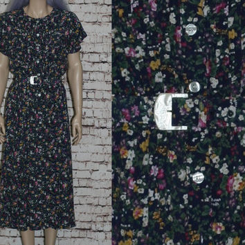 Day Dress Midi Shirt Button Up Floral Belted Blousy Navy Blue Frock 70s 80s 90s Boho Hipster Grunge S M Liz Claiborne Rayon