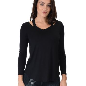Lyss Loo Cut Me Out Cold Shoulder Black Long Sleeve Top