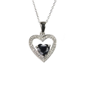 """Sterling Silver Diamond and Dark Sapphire Heart Necklace with Heart Stone, 18"""""""